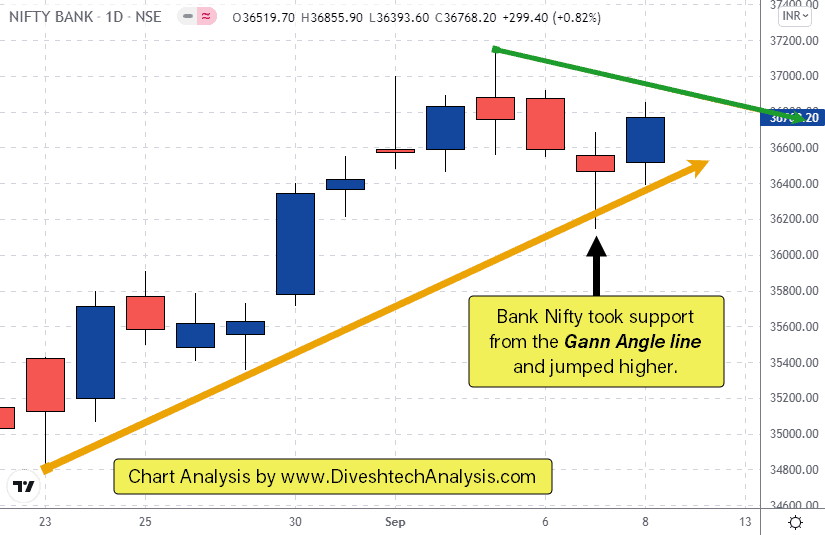 Bank Nifty closes in green by taking support from the gann angle line on the daily chart